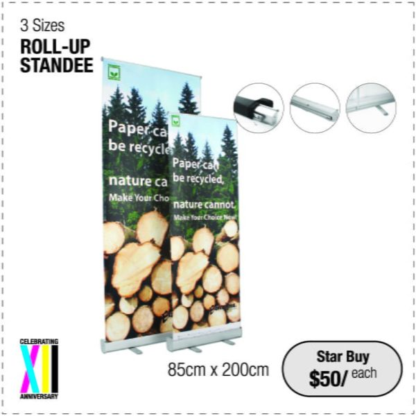 Rollup Standee, pull up banner, portable, light